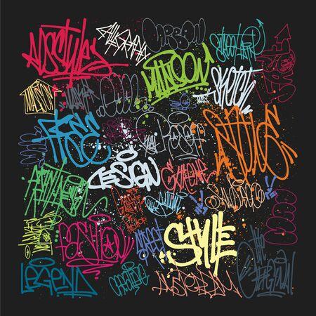 Taging on wall. Beautiful street art of graffiti