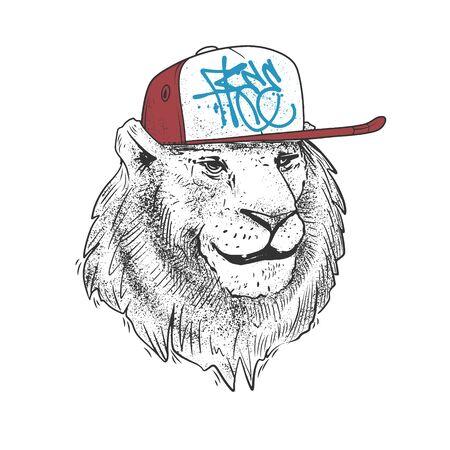 Lion in cap, hand drawn. vector illustration print design