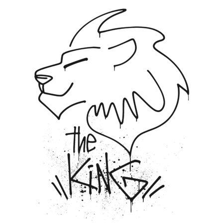 Lion head with lettering the king vector illustration Ilustração