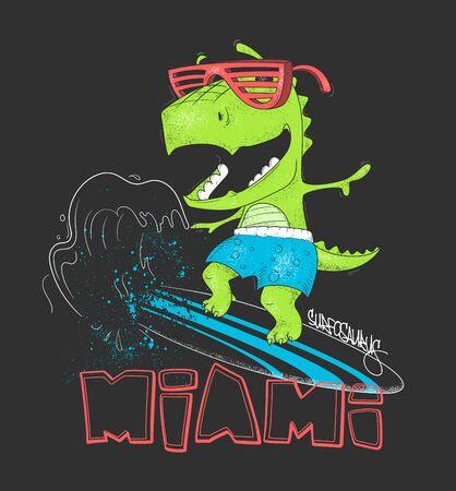 Dinosaur surfer ride the wave, on surfboard. Vector illustration.