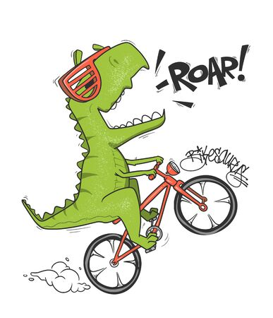 Dinosaur on bicycle. vector shirt print design Ilustração