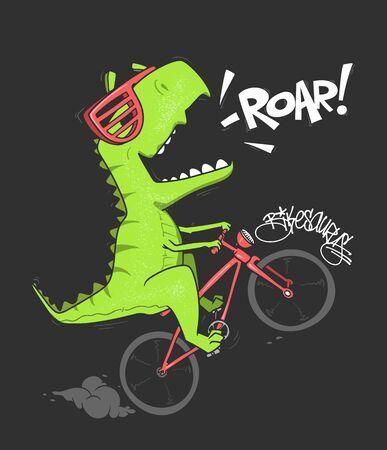 Dinosaur on bicycle. vector shirt print design 矢量图像