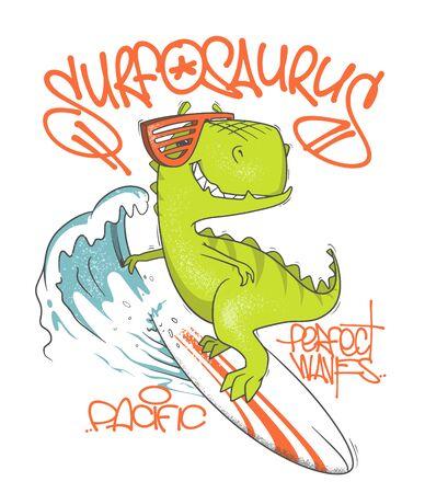 Dinosaur surfer ride the wave, on surfboard. Vector illustration Vectores