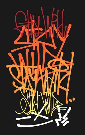 Stay wild vector graffiti tags, print design Ilustração
