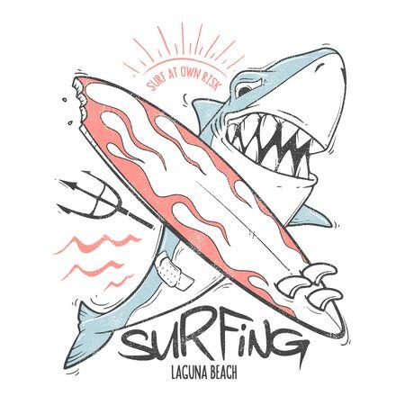 Shark t-shirt surf print design, vector illustration
