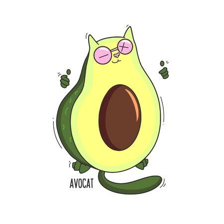 Funny avocado cat Illustration cartoon print design Ilustração
