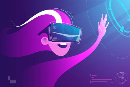 Woman use virtual reality illustration concept, modern innovative technology