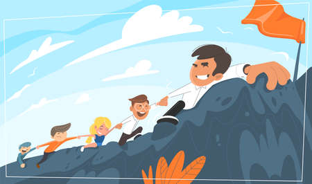 Boss leads office staff uphill. Purpose for the goal. while pulling along his colleagues. Concept for leadership, teamwork.