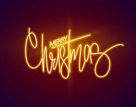 Merry Christmas glowing neon sign. Vector Illustration. 矢量图像