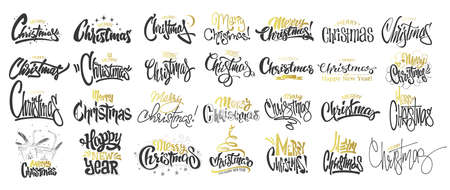 Merry Christmas Gold Lettering Design Set Vector Illustration