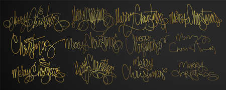 Golden text Merry Christmas lettering Design Set. Vector illustration 矢量图像