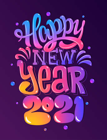 Happy new 2021 year. Greetings card. Colorful lettering design. Vector illustration