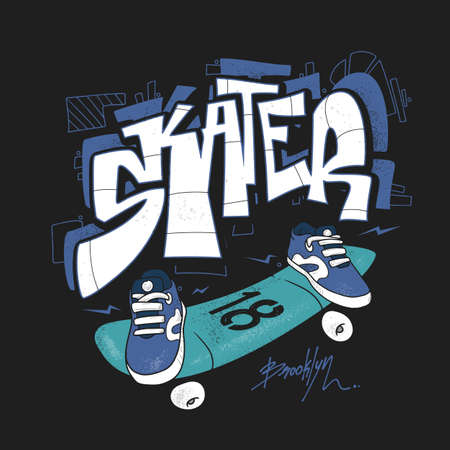 Skate board typography, urban t-shirt graphics, vectors.