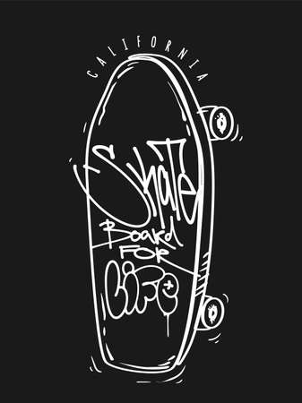Skate board for life print, t-shirt graphics. vector Urban skateboarding tee. 矢量图像