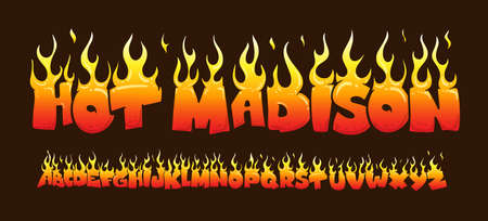 Fire burning letters set. latin alphabet. Vector font