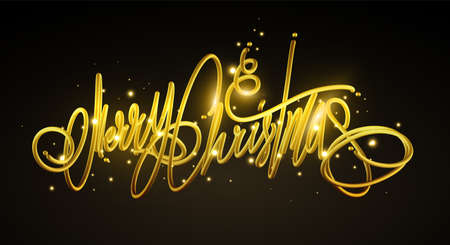 Golden text Merry Christmas lettering for invitation and greeting card, prints and posters. Hand drawn inscription. 免版税图像