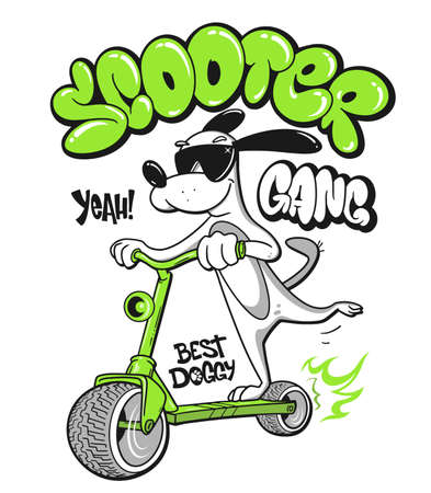 Cartoon dog riding a scooter vector T-Shirt design