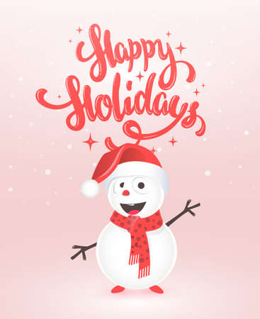 Christmas greeting card design with snowman, vector illustration 矢量图像