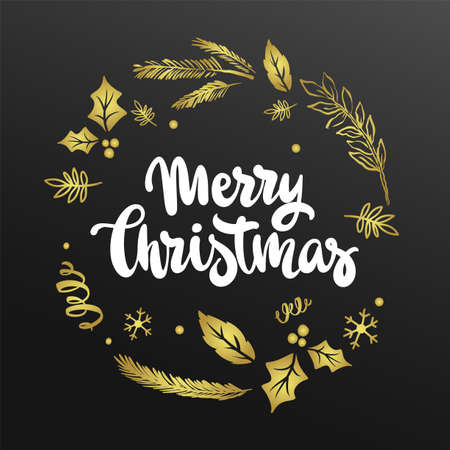 Merry Christmas Lettering Gold Design. vector illustration