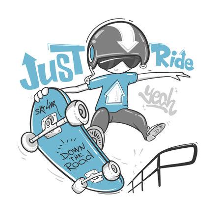 Skateboarder typography, t-shirt graphics, vector print design.