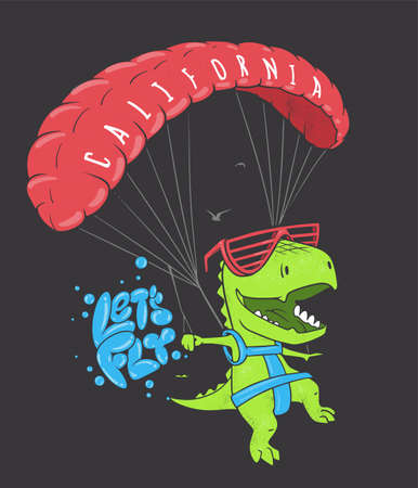 Funny dinosaur with paragliding. Vector shirt print design.
