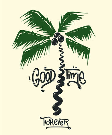 Palm tree print with slogan for t-shirt graphic and other uses 矢量图像