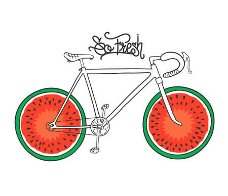 Bicycle with watermelon as wheel, t-shirt print