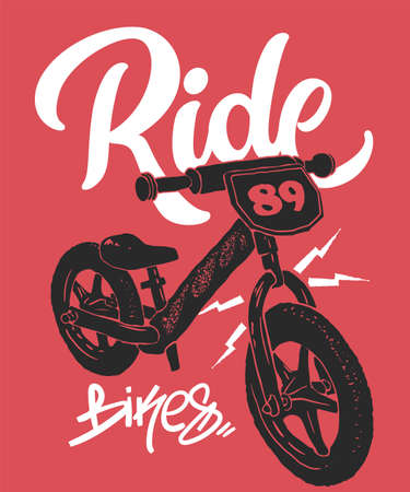 Balance bike print, t-shirt graphics, vector illustration 矢量图像