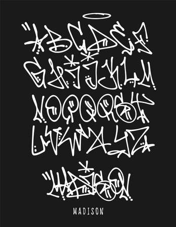 Street Graffiti Tag Font, handwritten Typography vector illustration.