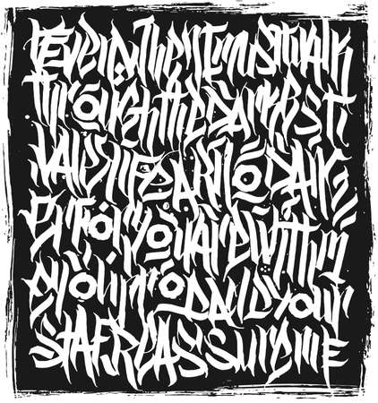 Calligraphy abstract graffiti lettering, grunge gothic design composition, print design.