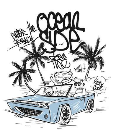 T-shirt graphics. Couple enjoying a drive in a convertible