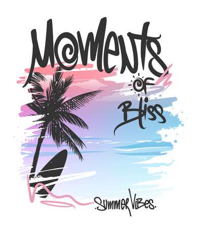 Moments of bliss, Palm Trees and Lettering, t-shirt print design Ilustração