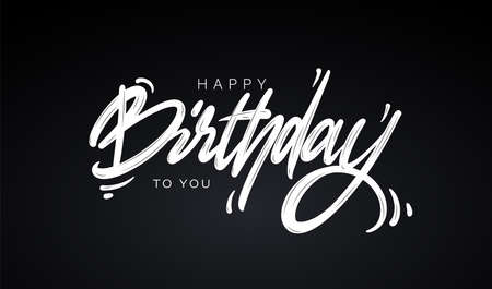 Happy Birthday greeting card with lettering design Ilustração