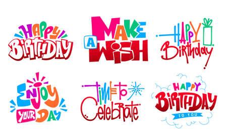 Happy Birthday set hand lettering vector design Ilustração