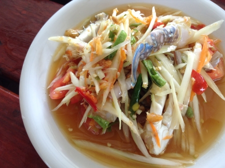 Papaya Spicy Salad With Fresh Crab Stock Photo - 21247715