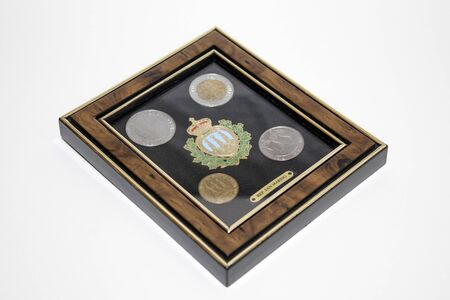 Collections, antique san marino coins in a frame composition Archivio Fotografico - 98927168