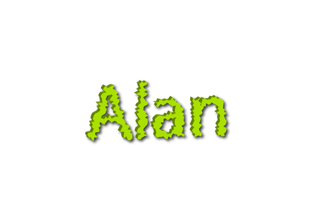 Illustration, name alan isolated in a white background composition Stok Fotoğraf