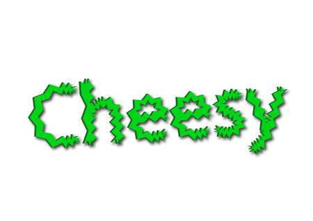 Illustration, idiom write Cheesy isolated on a white background.