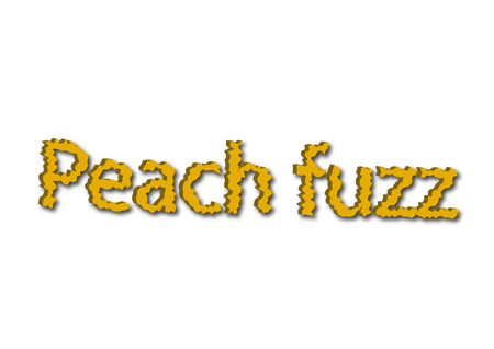 Illustration, idiom write Peach fuzz isolated on a white background.