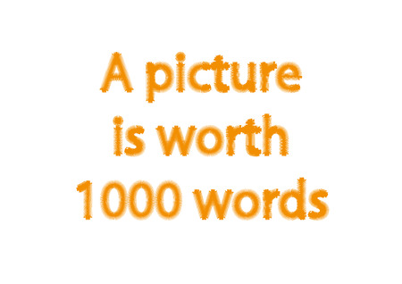 Illustration idiom write A picture is worth 1000 words isolated on a white background. Stock Photo