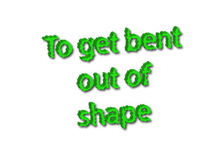 Illustration idiom write To get bent out of shape isolated on a white background. 版權商用圖片
