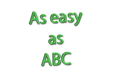 Illustration, idiom write As easy as ABC isolated on a white background.