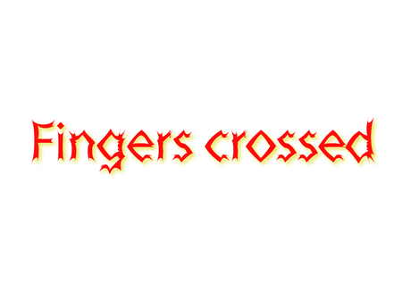 Illustration, idiom write Fingers crossed isolated on a white background.
