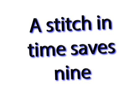 Illustration idiom write A stitch in time saves nine isolated on a white background.
