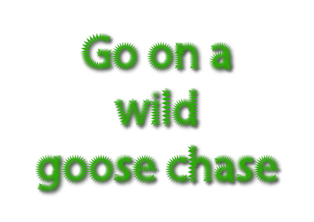Illustration idiom write Go on a wild goose chase isolated on a white background.
