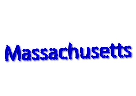 Massachusetts written illustration, american state isolated in a white background composition