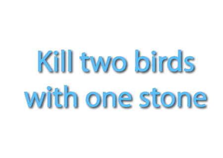 Illustration idiom write kill two birds with one stone isolated in a white background composition