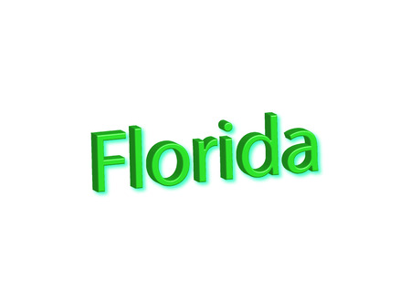 Florida written illustration, american state isolated in a white background composition
