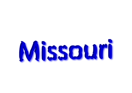 Missouri written illustration, american state isolated in a white background composition