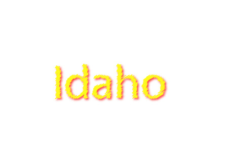 Idaho written illustration, american state isolated in a white background composition 写真素材 - 105857578